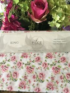 S.L Home Fashions Isabelle Shabby Chic Pink Flowers King Sheet Set 4PC NIP
