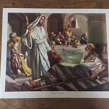 c1950 Vintage Enid Blyton Bible Picture Poster The man by the pool