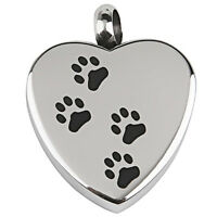 Dog Paw print on Heart Stainless Steel Cremation Pendant Antique Silver M6P6
