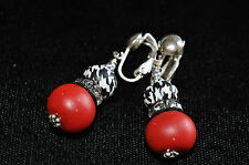 Crimson and Houndstooth Earrings Crystal CLIP ON Sterling Silver