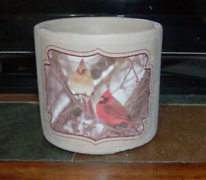 """GRAY STONE PLANTER with RED CARDINAL 4.5"""" High X 5"""" Diameter"""