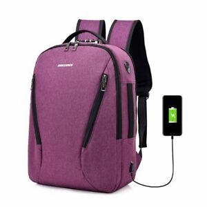 Men Laptop Backpack Anti Theft Lock USB Charging Port Business Travel School Bag