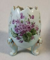 Vintage PARMA By AAI Cracked Egg VASE Blue Purple Flower Japan Planter