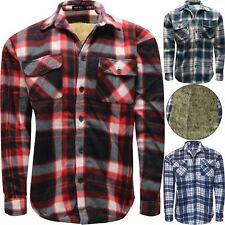 Mens Faux Fur Fleece Lined Lumberjack Padded Check Warm Thick Work Shirt Jacket