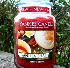 "Yankee Candle Retired ""VANILLA CHAI"" ~ Large 22 oz ~ WHITE LABEL~ RARE ~ NEW"
