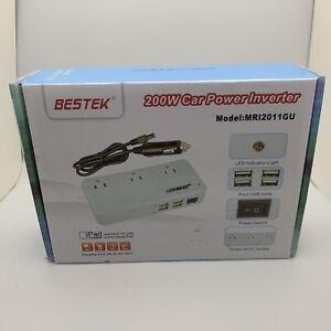 Bestek 200w Power Inverter DC 12v to 110v AC With 4.2a 4-port White