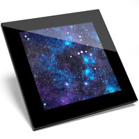 1 x Awesome Blue Galaxy Art Design Glass Coaster - Kitchen Student Gift #13249