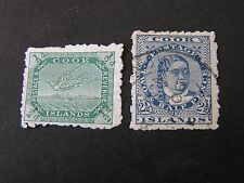 COOK ISLANDS. SCOTT # 27+29(2), 1/2p+21/2p VALUES  WRYBILL+QUEEN TAKUA 1902 USED