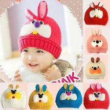 Baby Kids Toddlers Woolen Knitted Rabbit Beanie Cap Ears Crocheted Hats Earmuff