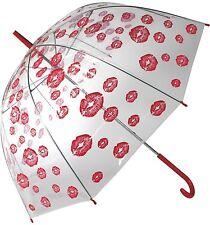 Regenschirm Schirm Kussmund Liebe Rot Transparent Kuppel-Schirm Stockschirm Love