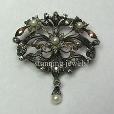 New Design 3.90ct Rose Cut Diamond Silver Pearl Brooch Free Shipping Worldwide