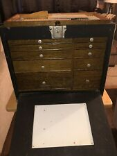 Vintage H. GERSTNER & SONS DENTAL MACHINISTS TOOL CHEST CASE WITH DENTAL TOOLS