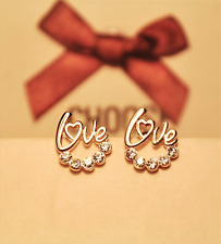 Gold Colour Plated Cute word Love Crystal Stud Earrings For Women