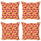 Ambesonne Vintage Antique Cushion Cover Set of 4 for Couch and Bed in 4 Sizes