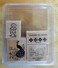 2010 Stampin Up VERY THANKFUL 4pc RUBBER INK STAMP SET Peacock Turtle Kid