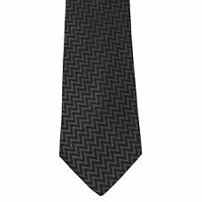 "Country Road Men's 100% Silk Zigzag Charcoal Gray Neck Tie 4"" x 56 1/2"""