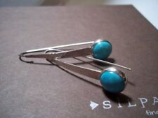 """Silpada Swan Dive earrings threader 2.25"""" W2132 turquoise 925 hammered sterling"""