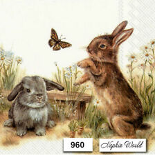 (960) Two Individual Paper Luncheon Decoupage Napkins - Bunny Rabbits Easter
