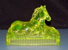 """VASELINE GLASS HORSE AND BABY PAPERWEIGHT MARE & FOAL EXC! 6 1/2"""" LONG"""