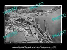 OLD LARGE HISTORIC PHOTO OF PADSTOW CORNWALL ENGLAND, AERIAL VIEW OF TOWN 1930 1