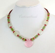 Clam Shell, Pendant Necklace, Pink And Green, 20 Inch Length
