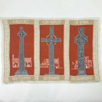 Vintage Scottish Linen Lockhart Kirkcaldy Cloth Fabric Celtic Crosses of Iona