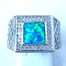 **NEW**STUNNING SQUARE  BLUE  OPAL/CZ  RING   UK SIZE  W  /  US SIZE  12