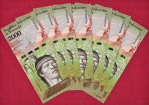 Dealer Lot of 7 X VENEZUELA UNC 2,000 Bolivares 2016 NOTES (P-96b) PRINTER: CdMV