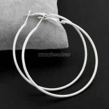 "US Seller..1 Pair White  2.25""  Weightless Big Hoop Earrings"