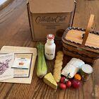 Longaberger 1996 Miniature Market Basket Combo with Food Groceries Signed