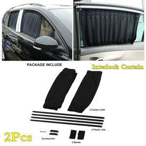 Universal Foldable Interlock Sun Shade Side Window Curtain 2Pcs Car Accessories