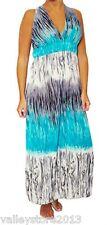 New White Blue Maxi Long Beach Cocktail Empire Waist Boho Summer Dress S L M  XL