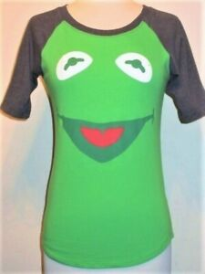 Girls soft Big Face KERMIT The FROG Muppets raglan T-shirt