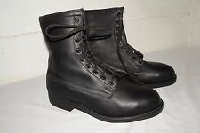 NOS 80s Vtg UNISSUED Military STEEL TOE Combat BLACK LEATHER Work BOOTS 8-8.5 W