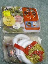 HTF Vintage Lee Wards Multi Beaded Mini Wreath Christmas Ornament Kit Makes 3