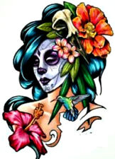 20 water slide nail decals Diy Manicure Day of the Dead woman w colorful flowers