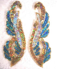 0033 TURQUOISE GOLD SILVER MIRROR PAIR SEQUIN BEADED APPLIQUES GOLD BEADS