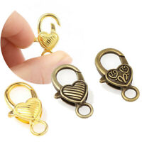 10pcs Heart Shaped Lobster Clasp Hooks For DIY Jewelry Making Findings Connector