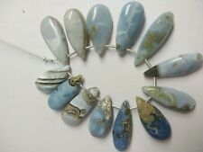 AAA BLUE OPAL PEAR BRIOLETTE SMOOTH 9X28-12X29 MM,13 PC. LOOSE GEMSTONE BEADS
