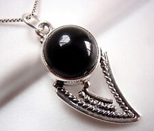 Black Onyx Tribal Style Pendant 925 Sterling Silver Imported from India New