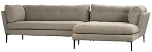 "112"" Lucia L-shape Sofa Black Iron Frame Grey Linen Upholstery Traditional"