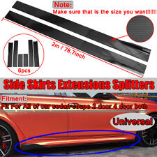 78.7'' Carbon Fiber Look Universal Side Skirts Extensions Rocker Panel Splitters