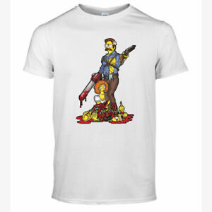 HALLOWEEN EVIL NED 2 T-SHIRT HORROR MOVIE SIMPSONS FILM CHARACTERS UNISEX TOP