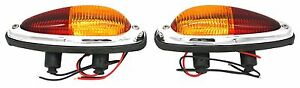 Tail Light Assembly,Teardrop, Amber/Red, U.S. Model, Porsche 356A, 356B, 356C