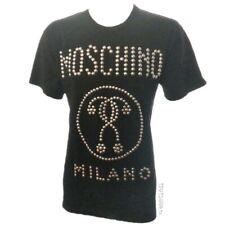 MOSCHINO Men's Black Logo Studded Cotton Jersey T-shirt $565 SMALL NWOT