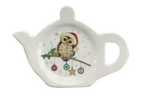 Christmas Owl & Bauble Melamine Teabag Tea Bag Tidy Holder  11 x 8.5 x 2cm