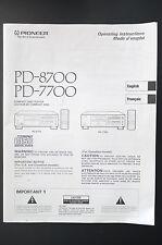 PIONEER PD-8700/PD-7700 Original Bedienungsanleitung/User Manual Top-Zust.!