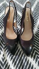ERROL ARENDZ Designer Patent Black Leather Suede Heels Pumps Stilettos SZ 37 B2