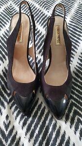 ERROL ARENDZ Designer Patent Black Leather Suede Heels Pumps Stilettos SZ 37 B2