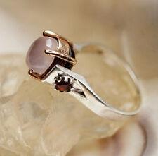 Silberring 55 Rosenquarz Rosa Rubin Granat Rot Elegant Design Silber Ring